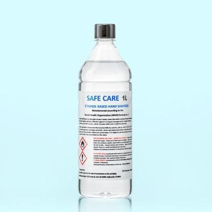 Safe Care 1 Litre of Hand Sanitiser Liquid, Screw Cap, 80% Alcohol (Each)
