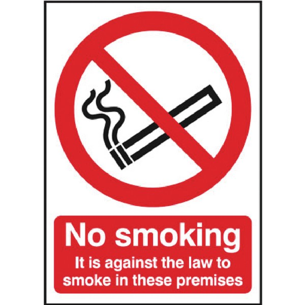 Safety Sign 297x210mm No Smoking It is against the law to smoke in these premises Self-Adhesive