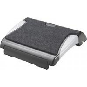 Q Connect Footrest with Carpet Black/Silver KF20075