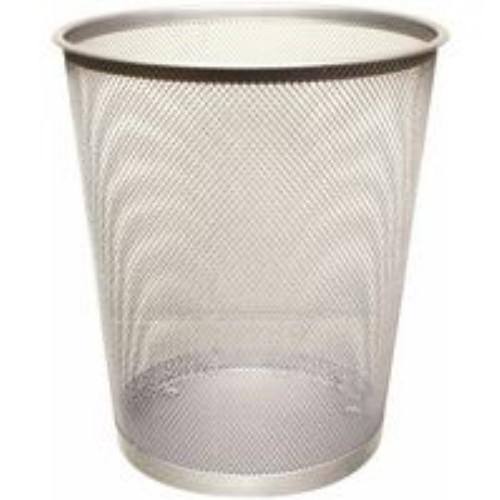 *Q Connect Mesh Waste Paper Basket Silver Bin