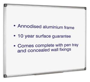 Initiative Magnetic Drywipe Whiteboard 1200mm x 900mm 4X3 KF01080