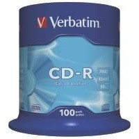 Verbatim CD-R Recordable Disk 52x Speed 80min 700Mb Spindle Pack 100 Code 43411
