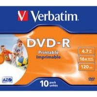 Verbatim DVD-R 16X Wide Inkjet Printable ID Pack of 10 43521