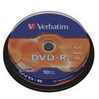 Verbatim DVD-R 16X Non-Printable Spindle Pack of 10 43523