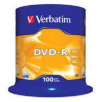 Verbatim DVD-R 16X Non-Printable Spindle Pack of 100 43549