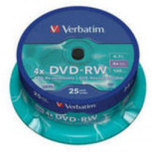 Verbatim DVD-RW 4X Silver Non-Printable Spindle Pack of 25 43639