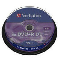 Verbatim DVD+R 8X Double Layer Non-Printable Spindle Pack of 10 43666