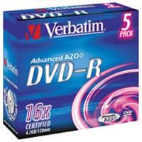 Verbatim DVD-R 4.7Gb 16X Jewel Case Pack of 5 43519