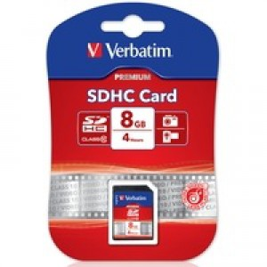 Verbatim Secure Digital High Capacity Memory Card SDHC 8Gb Class 10 43961