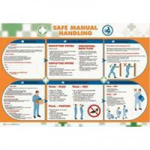 Wallace Cameron Manual Handling Poster Laminated Wall-mountable W590xH420mm Ref 5405022