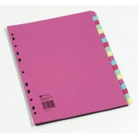 A4 Manilla Divider 20-Part Pink With Multi-Colour Tabs