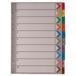 A4 Mylar Index 1-10 Multi-Colour WX01519