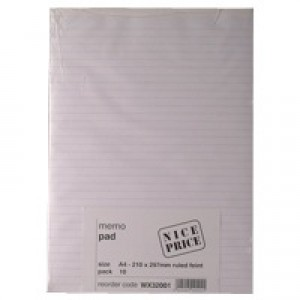 Memo Pad A4 Ruled Feint 80 Leaf (Pk 10) WX32001
