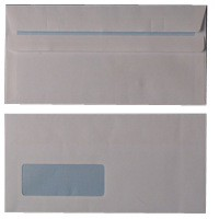 Envelope DL Window 80gsm White Self-Seal Pk 1000